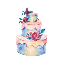 Watercolor Fantasy Wedding Cake With Red Roses. Hand Drawn Bakery Illustration
