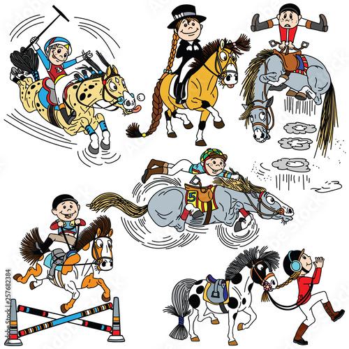 Cuadros en Lienzo set of cartoon child riding a horse