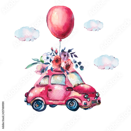 Leinwandbilder - Watercolor fantasy greeting card with cute red car and air balloons