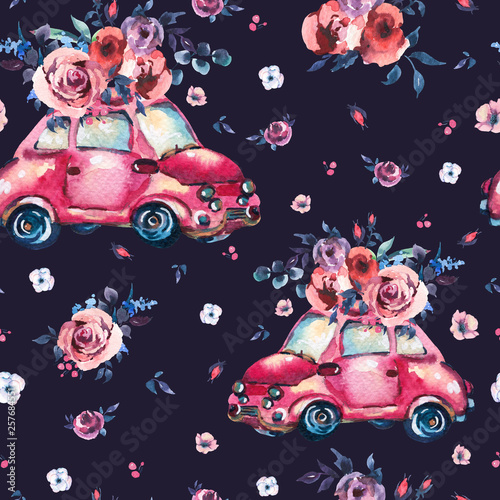 Leinwandbilder - Watercolor fantasy seamless pattern with cute red retro car, wild flowers and roses