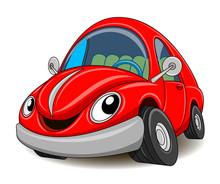 Funny Red Car. Vector Illustra...