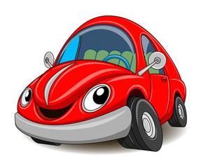 Smiješni crveni automobil. Vektorska ilustracija