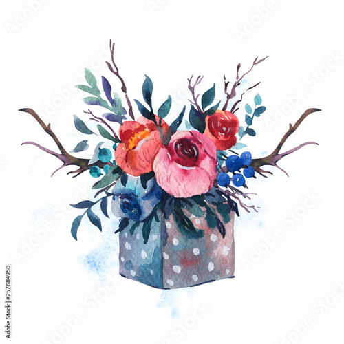 Leinwandbilder - Watercolor hand painted  wooden box with flowers, red roses, wildflowers berries, horns