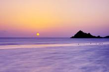Sunset On A Wild Beach On The Indian Ocean On The Paradise Island Beach.long Exposure.Selective Soft Focus.