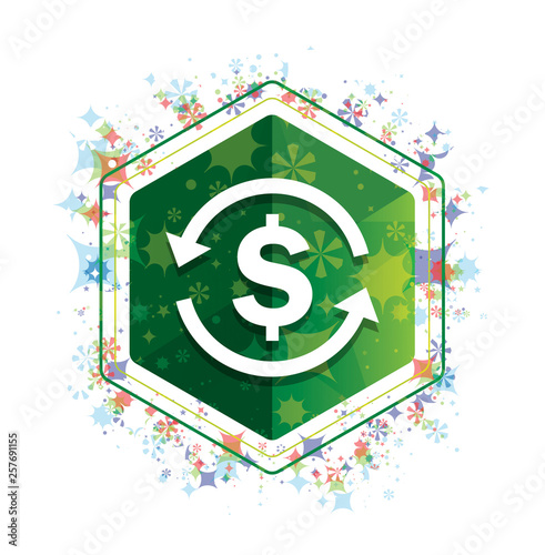 Money exchange dollar sign icon floral plants pattern green