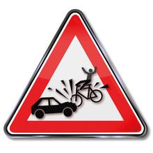 Warnschild Mit Achtung Fahrrad...