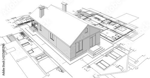 Fotografie, Obraz  house, architectural project, sketch