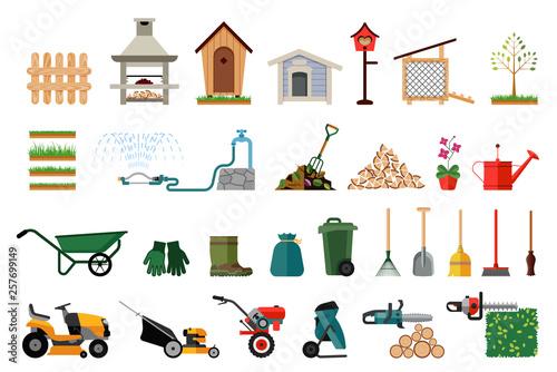 Set of various gardening items Fototapeta