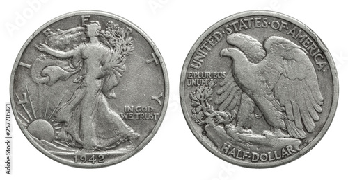 US Half Dollar 50 cents silver coin 1942 Canvas-taulu