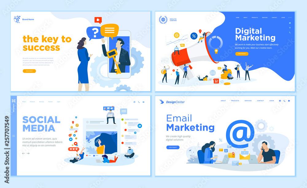 Fototapeta Web page design templates collection of internet marketing, social media, email marketing, online support, modern. Flat design vector illustration concepts for website and mobile website development.