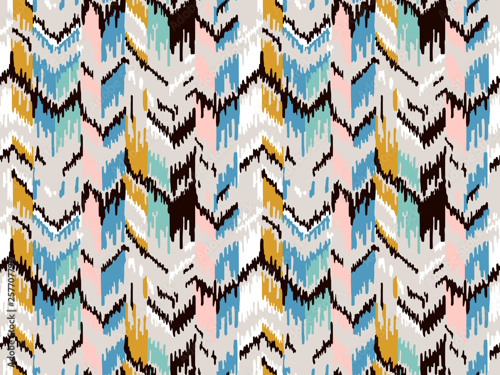 Ethnic seamless pattern. Tribal ethnic vector texture. Striped pattern in Aztec style. Ikat geometric folklore ornament. Ethnic motif for wrapping, wallpaper, fabric, textile, craft, embroider.