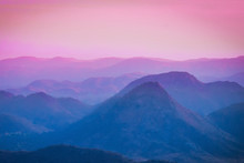 Beautiful Blue Pink Sunset Sky At The Mountains Landscape. Mountain Background.