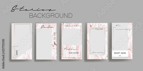 Poster Retro sign Abstract acrylic paints pink marble pattern. Instagram stories frame templates. Vector background. Mockup for social media banner. Layout design for personal blog or commercial promotion.