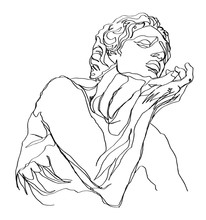 One Line Drawing Sketch Greek Sculpture.Modern Single Line Art, Aesthetic Contour. Perfect For Home Decor Such As Posters, Wall Art, Tote Bag, T-shirt Print, Sticker