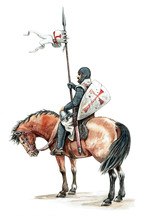 Medieval Mounted Knight. Templar Knight On Horseback.Knight Illustration.