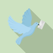 Post Pigeon Icon. Flat Illustration Of Post Pigeon Vector Icon For Web Design