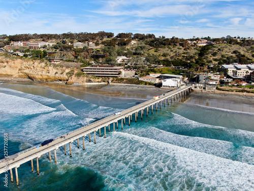Fototapeta Aerial view of the scripps pier institute of oceanography, La Jolla, San Diego, California, USA