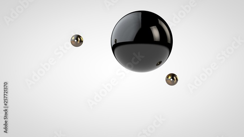 Fotografía  3D illustration of a black, glossy ball surrounded by two small balls isolated on a white background