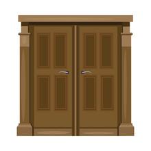 Brown Double Front Door With H...