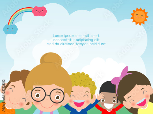 Set Of Happy Kids In Education Concept Back To School Banner Background Cute School Kids Template For Advertising Brochure Your Text Vector Illustration Buy This Stock Vector And Explore Similar Vectors At