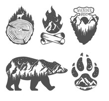Double Exposure. Wildlife Concept. Hand Drawn Outdoor Badges. Wild Nature In Black And White Colors