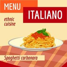 Spaghetti Carbonara Concept Background. Cartoon Illustration Of Spaghetti Carbonara Vector Concept Background For Web Design