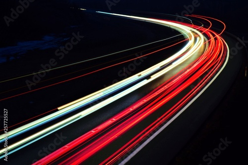 Fotobehang Nacht snelweg lights of cars with night