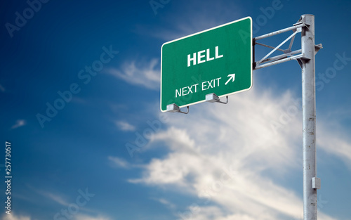 3D rendering highway sign and message about hell фототапет