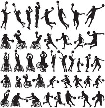 People Play Basketball Vector Silhouettes Collection Of Man Women Children And Disabled Athletes