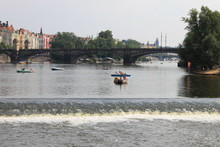 View Of The Vltava River In Prague And The Rapids In The Czech Republic