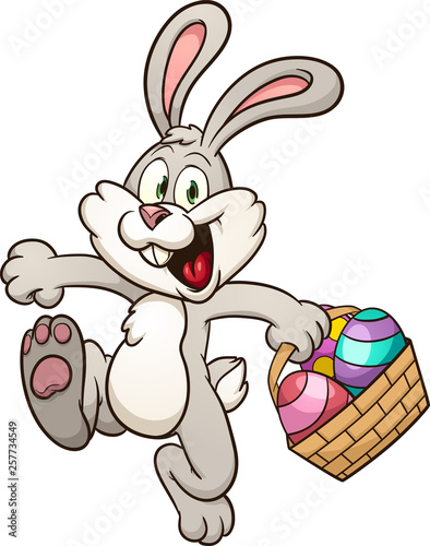 Photographie Happy Easter bunny with basket clip art