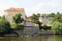 Stone Embankment In The Old Town Of Prague Czech Republic