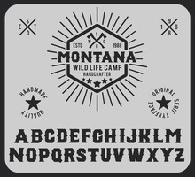 Montana. Hipster Style. Vintage, Retro And Nature. Logotype Wild Life Capm And Park.