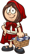 Cartoon Little Red Riding Hood Girl With Basket On Her Hand Clip Art. Vector Illustration With Simple Gradients. All In A Single Layer.