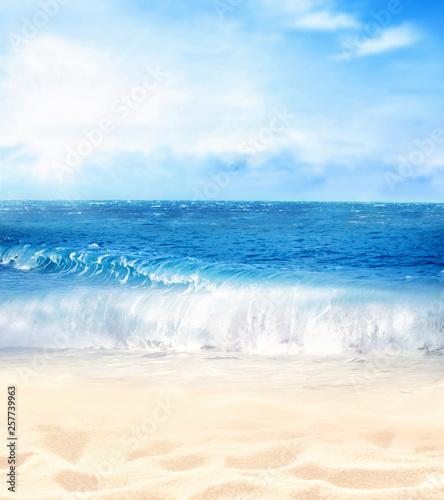Summer beach background. Sand, sea and sky.