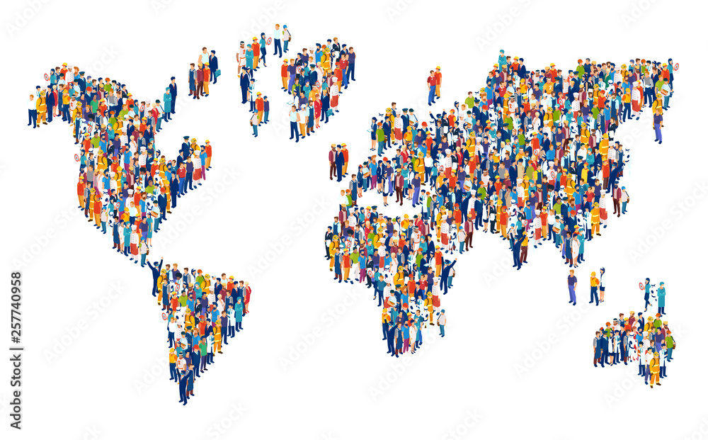 Fototapeta Vector of crowd of multicultural people composing a world map