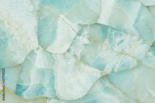 White and blue quartz natural stone texture, gemstone surface background close up