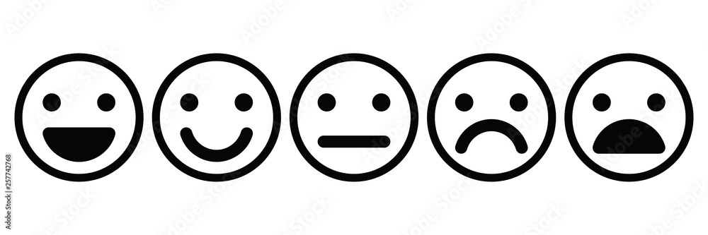Fototapeta Basic emoticons set. Five facial expression of feedback - from positive to negative. Simple black outline vector icons