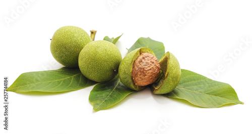 Obraz Green walnuts with leaves. - fototapety do salonu