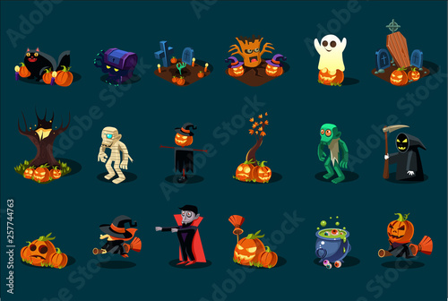Canvastavla Cartoon flat vector set of Halloween icons