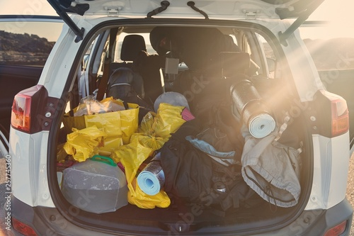 Fotografie, Obraz  Trunk with stuff for camping