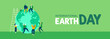 Earth Day web banner of young people celebration