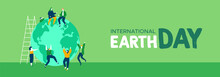 Earth Day Web Banner Of Young ...