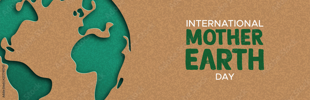 Fototapety, obrazy: Earth Day web banner of paper cut world map