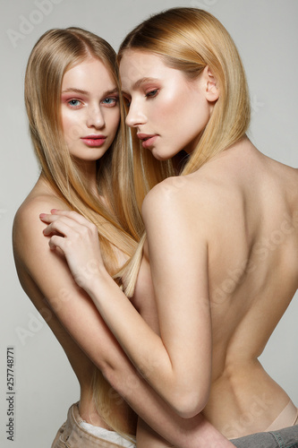 Naked girls i may know Portrait Of Two Halfe Naked Girls With Natural Perfect Skin Same Long Blonde Hair Stock Photo Adobe Stock