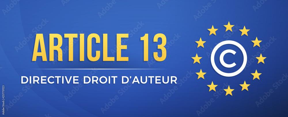 Fototapeta Article 13 - Directive droit d'auteur