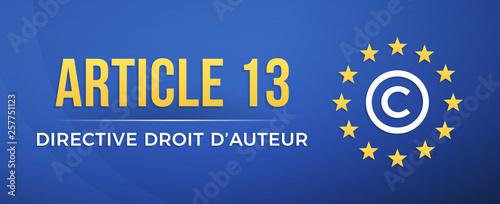 Obraz Article 13 - Directive droit d'auteur - fototapety do salonu