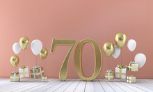 Number 70 Birthday Party Composition With Balloons And Gift Boxes. 3D Rendering