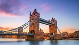 Fototapeta London - tower bridge in london at sunset London UK March