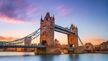 Tower Bridge In London At Sunset London UK March